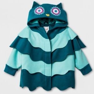 Owl Hooded Teal Jacket by Cat & Jack 3t